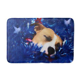 USA Patriotic Dog American Pit Bull Terrier Bath Mats