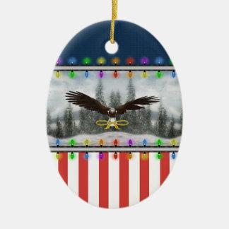 USA Patriotic Eagle Oval Christmas Ornament