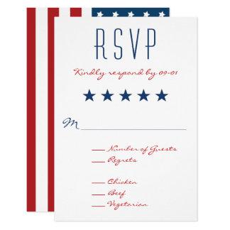 USA Patriotic Flag Wedding RSVP 2 Card