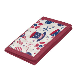 USA Patriotic Hats and Hearts Trifold Wallets