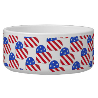 USA Patriotic Love Heart Red White Blue Flag Bowl