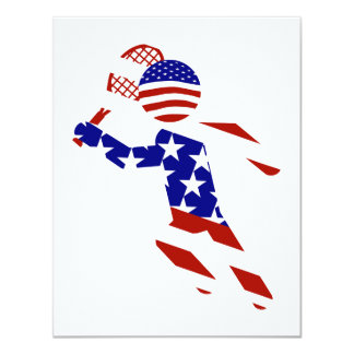 USA Patriotic Men's Tennis Player 11 Cm X 14 Cm Invitation Card