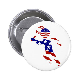 USA Patriotic Men's Tennis Player 6 Cm Round Badge