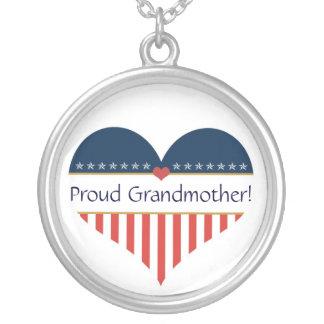 USA Patriotic Proud Grandmother Silver Necklace
