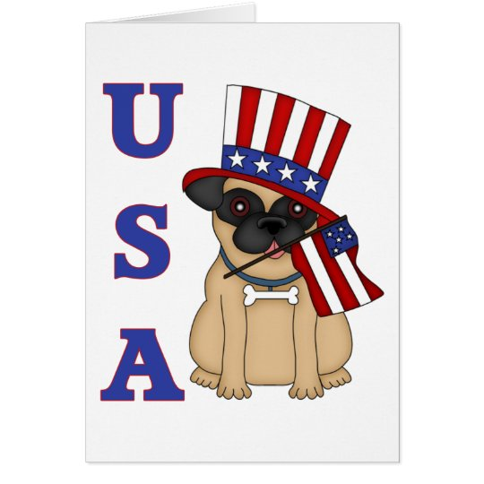 USA Patriotic Pug with Flag Card