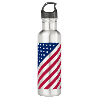USA Patriotic Red Blue Stars Stripes Water Bottle 710 Ml Water Bottle