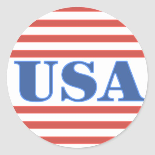 USA Patriotic Stars and Stripes Round Stickers