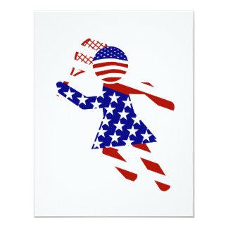 USA Patriotic Womens Tennis Player 11 Cm X 14 Cm Invitation Card