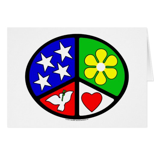 USA Peace Love Ecology Greeting Cards