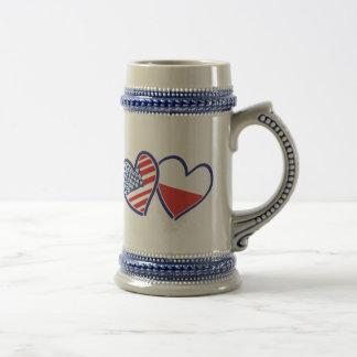 USA Poland Flag Hearts Beer Stein