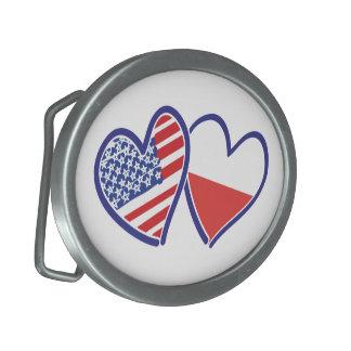 USA Poland Flag Hearts Belt Buckle