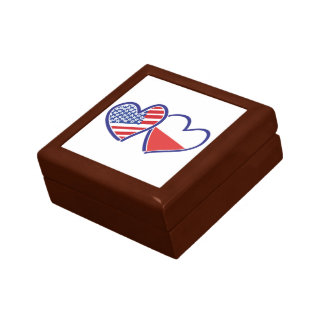USA Poland Flag Hearts Gift Box