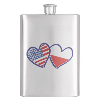 USA Poland Flag Hearts Hip Flask