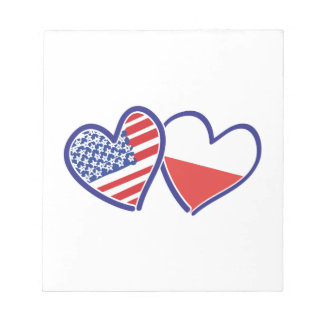 USA Poland Flag Hearts Notepad