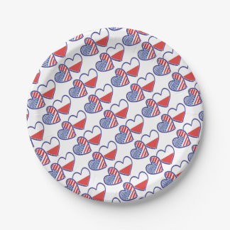 USA Poland Flag Hearts Paper Plate