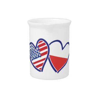 USA Poland Flag Hearts Pitcher