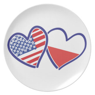 USA Poland Flag Hearts Plate