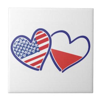 USA Poland Flag Hearts Tile