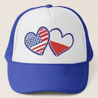 USA Poland Flag Hearts Trucker Hat