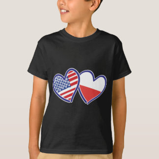 USA Poland Heart Flags T-Shirt