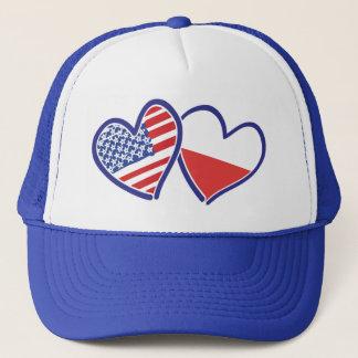 USA Poland Heart Flags Trucker Hat