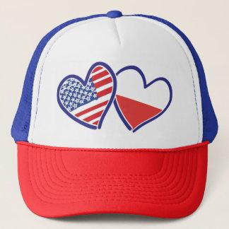USA-POLISH-FLAG-HEARTS TRUCKER HAT