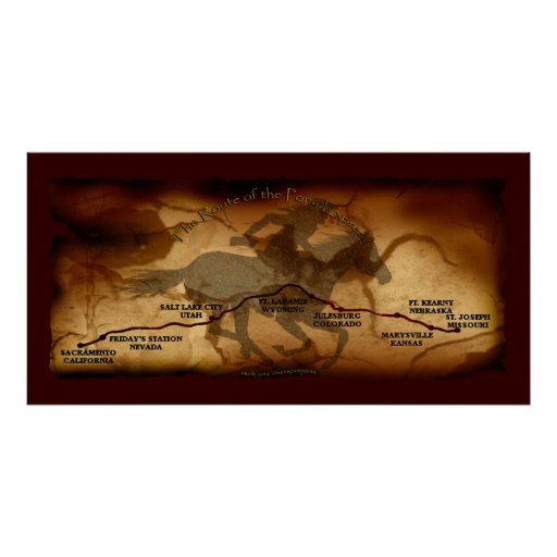 USA Pony Express Map Route Art Poster