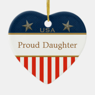 USA Proud Daughter Patriotic Heart Frame Ceramic Ornament