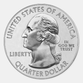 USA Quarter Coin Classic Round Sticker