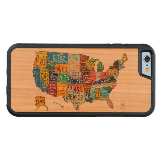 USA Recycled Vintage License Plate Map Cherry iPhone 6 Bumper Case