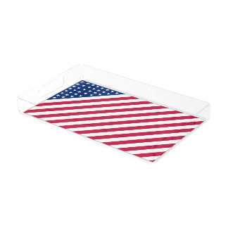 USA Red Blue White Stripes Stars Flag Party Tray