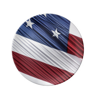 USA Red, White and Blue American Patriotic Flag Porcelain Plate