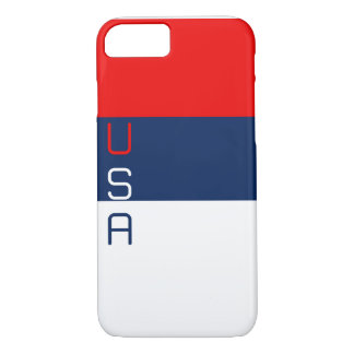 USA Red White and Blue Striped iPhone 7 Case