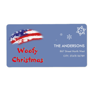 USA Red White Blue Flag Woofy Christmas Shipping Label