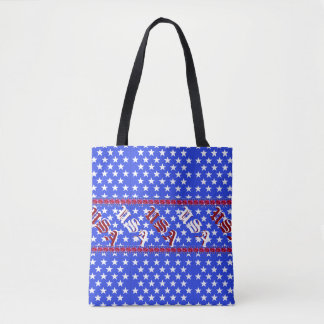 USA Red White Blue Stars Patriotic Fashion Tote Bag