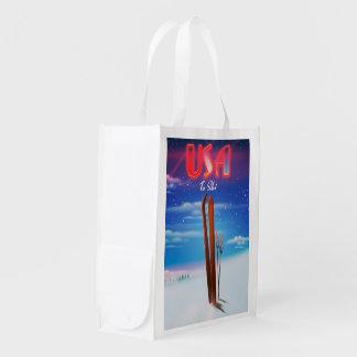 usa ski travel poster reusable grocery bag