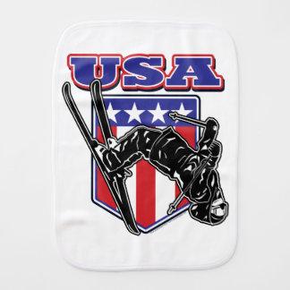 USA-Skier Burp Cloth