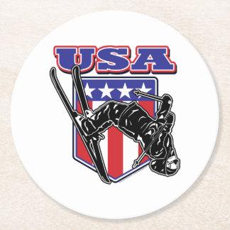 USA-Skier Round Paper Coaster