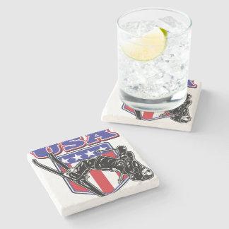 USA-Skier Stone Coaster
