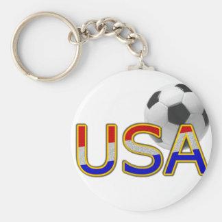 USA Soccer Basic Round Button Key Ring