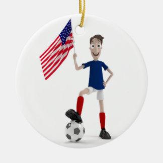 USA Soccer Ceramic Ornament