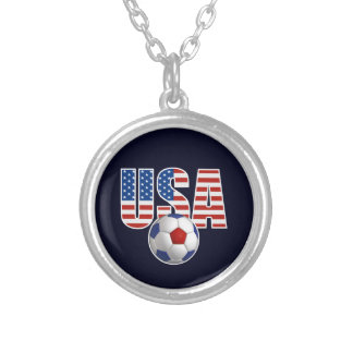 USA Soccer Silver Plated Necklace