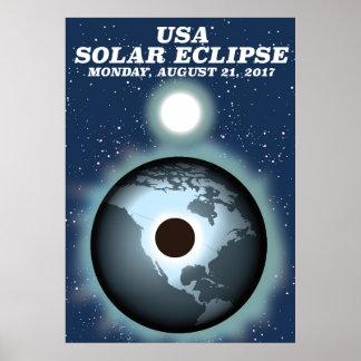 USA Solar Eclipse 2017 vintage poster