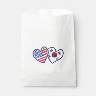 USA South Korea love hearts Favour Bag