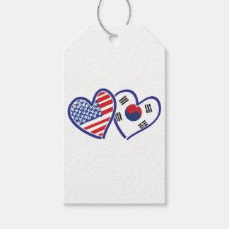 USA South Korea love hearts Gift Tags