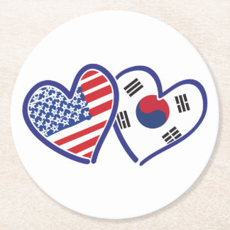 USA South Korea love hearts Round Paper Coaster