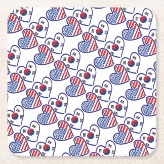 USA South Korea love hearts Square Paper Coaster