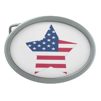 USA Star Flag Oval Belt Buckles