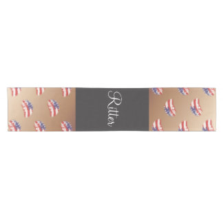 USA Stars and Stripes Abstract Flag Short Table Runner