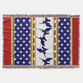 USA Stars Blue Bald Eagle Throw Blanket